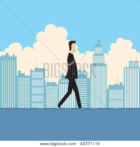 Businessman Walking On Water