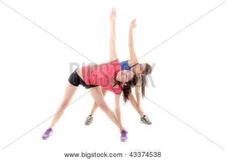 Group of sport women doing stretching exercise.