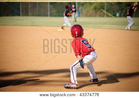 Little League Baseball Player Trying To Steal