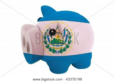 Piggy Rich Bank In Colors  National Flag Of El Salvador    For Saving Money