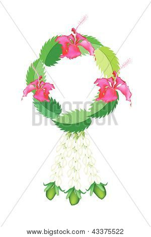 Fresh Jasmine Flowers With Hibiscus Flowers Garland