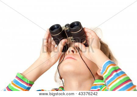 A girl looking up through a small binocular isolated on a white background