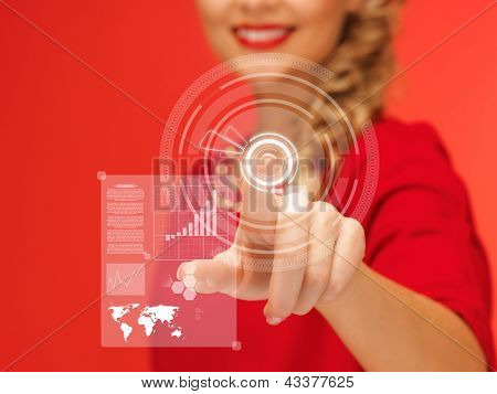 picture of lovely woman in red dress pressing virtual button