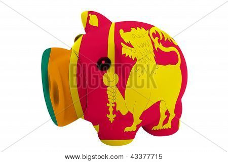 Piggy Rich Bank In Colors  National Flag Of Srilanka    For Saving Money