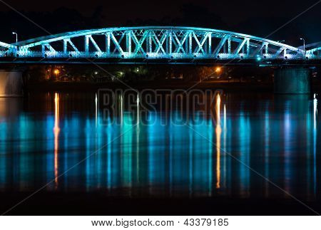 Night view of Truong Tien Bridge in Hue.