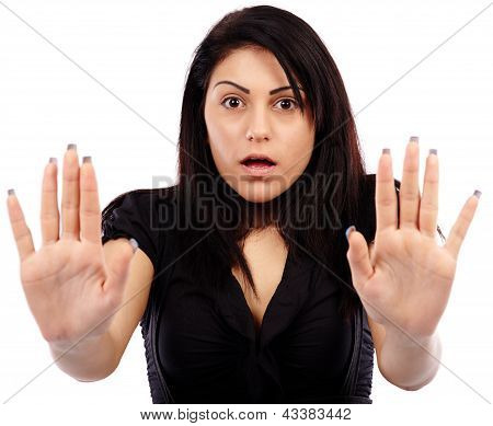 Closeup Pose Of A Scared Young Woman