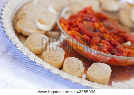 Sourdough Slices and Peppers on Serving Tray.