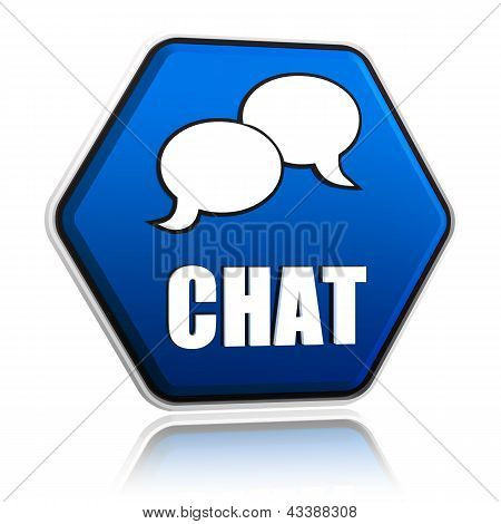 Chat With Speech Bubbles Sign In Blue Hexagon Button