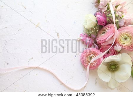 fresh spring flowers in pink and white