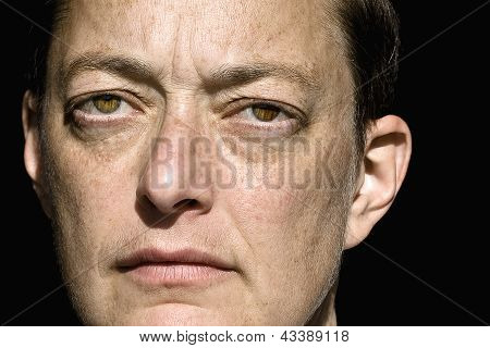Closeup of Handsome Caucasian Woman Looking Intently at the Camera