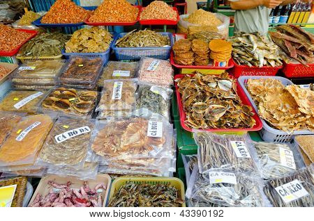 Dried Seafoods At Market