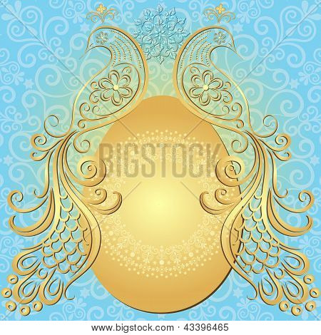 Gold-blue Easter Vintage Frame