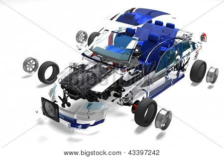 Disassembled car on a white background.