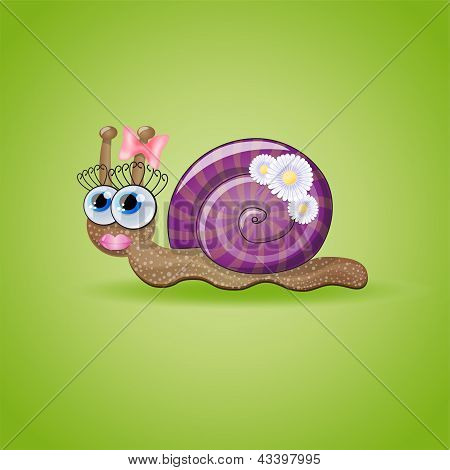 Isolated funny female snail.