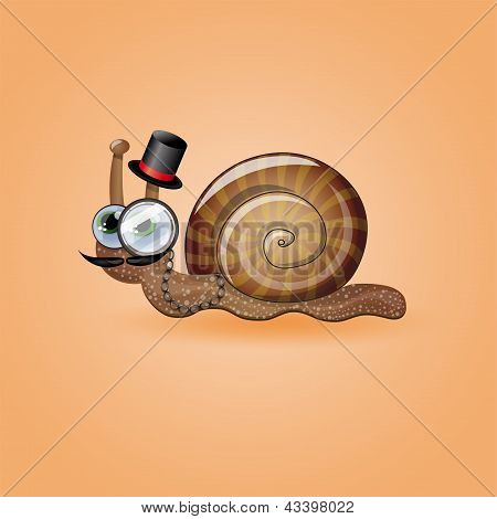 Isolated funny male snail.