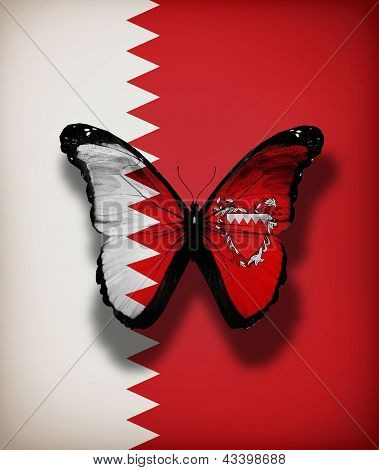 Bahrain Flag Butterfly, Isolated On Flag Background