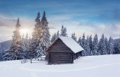 Beautiful winter landscape with snow covered trees. Dramatic sky. Carpathian, Ukraine, Europe. Beaut