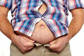 image of belly button  - Fat man with a big belly - JPG