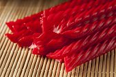 picture of licorice  - Bright Red Licorice Candy shaped like a twisted rope