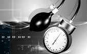 foto of bp  - Digital illustration of sphygmomanometer in colour background - JPG