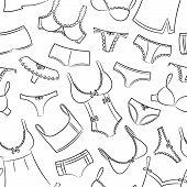 stock photo of tanga  - Female Underwear Doodle Seamless Pattern On The White - JPG