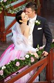 foto of wedding couple  - Young couple on a formal wedding photo - JPG
