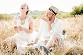 stock photo of flirt  - Happy couple embracing and laughing - JPG