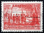 Postage Stamp Australia 1937 Governor Arthur Phillip At Sydney Cove