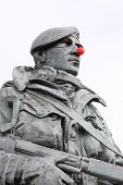 red nose on a statue of a marine