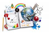 image of preschool  - An open book has various math science and space concepts coming out of it for a school or learning concept - JPG