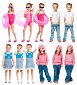 image of little girls photo-models  - set of a little girl photos on a white background - JPG