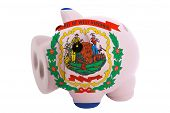 Piggy Rich Bank In Colors  Flag Of American State Of West Virginia    For Saving Money