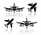 image of aeroplane symbol  - Set of transport icons  - JPG