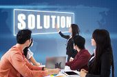 Business Meeting With Presentation A Solution poster
