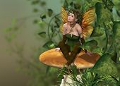 stock photo of fairy-mushroom  - a little fairy is sitting on a mushroom - JPG