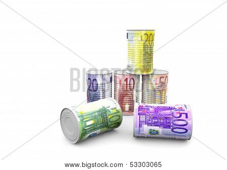 A Pyramid Of Money Cans