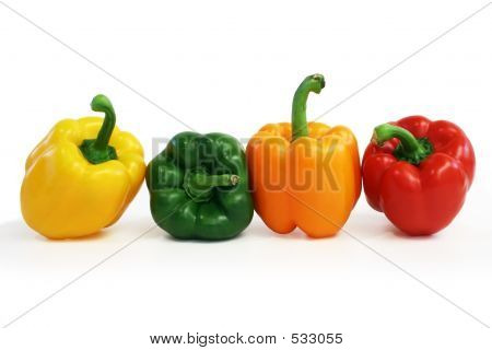 Multicolored Peppers Lined Up