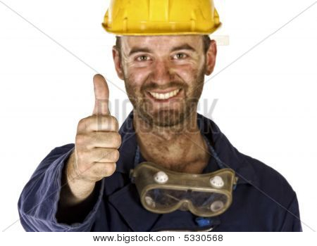 Confident Labourer Thumn Up