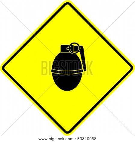 round hand grenade explosive sign