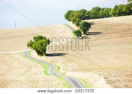 field with a road, Gers Department, France