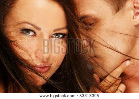 Beautiful young couple in love portrait