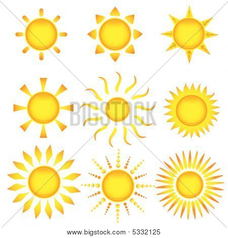 Sun Icons. Vector Illustration