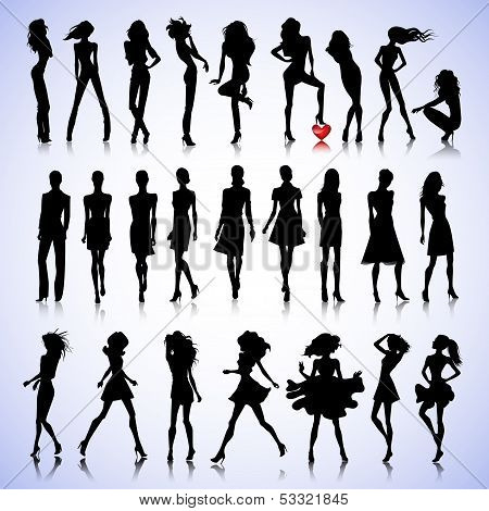 Fashion Set Of Woman Silhouettes