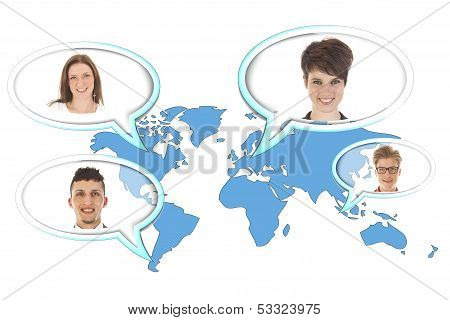 World Map With Several Balloons With Persons Isolated On White Background