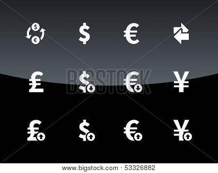 Exchange Rate icons on black background.