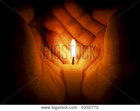Candle Between Two Hands