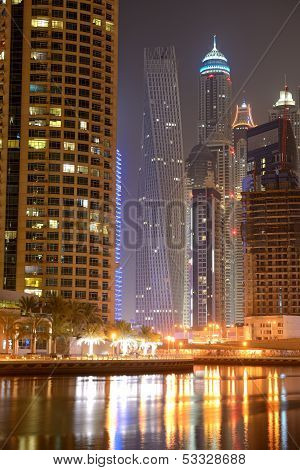 Dubai, Uae - September 11: The Cayan Tower In Night Illumination At Dubai Marina On September 11, 20