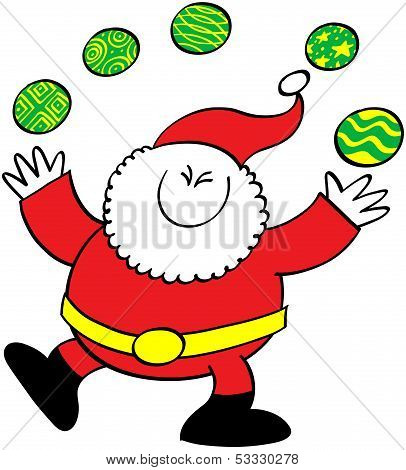 Cool Santa Claus juggling Christmas baubles