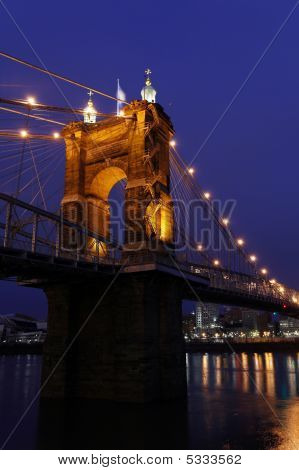 The John A. Roebling Suspension Bridge In Cincinnati.