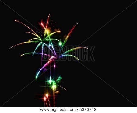 Rainbow Fireworks Cascade